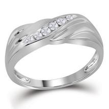 10k White Gold Mens Round Diamond Diagonal Single Row Wedding Band Ring 1/8 - $497.70