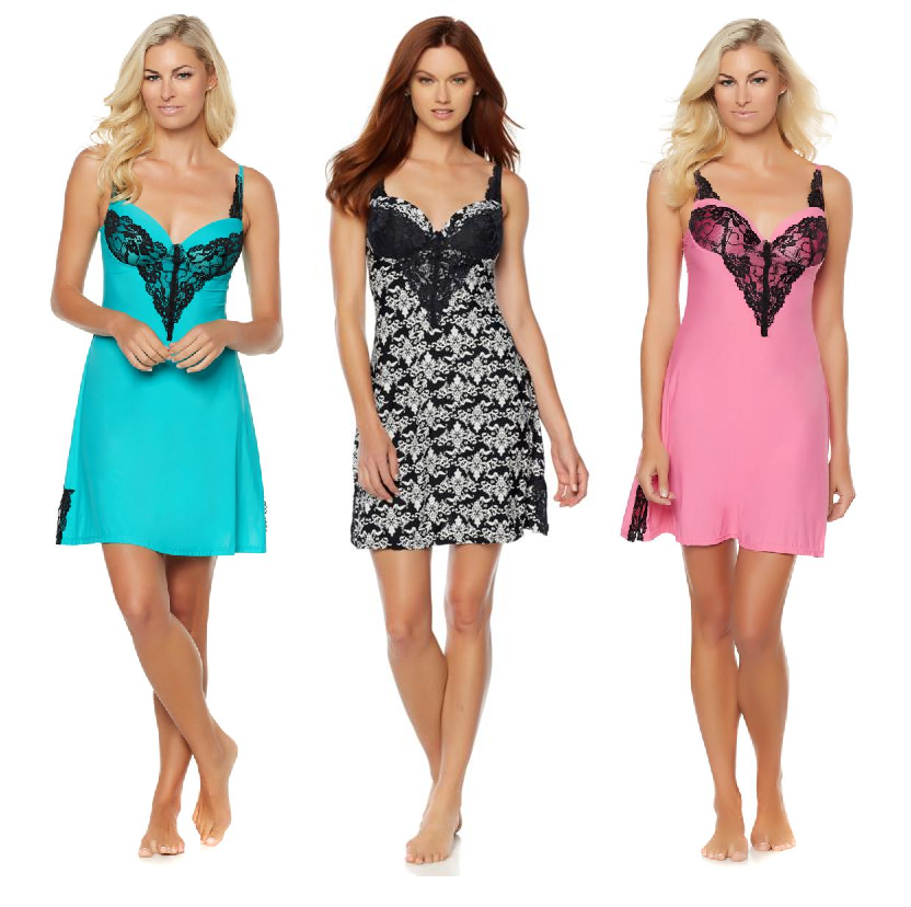 Rhonda Shear Molded Cup Solid Chemise with Lace Detail (HSN 561462)