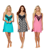 Rhonda Shear Molded Cup Solid Chemise with Lace Detail (HSN 561462) - $26.99