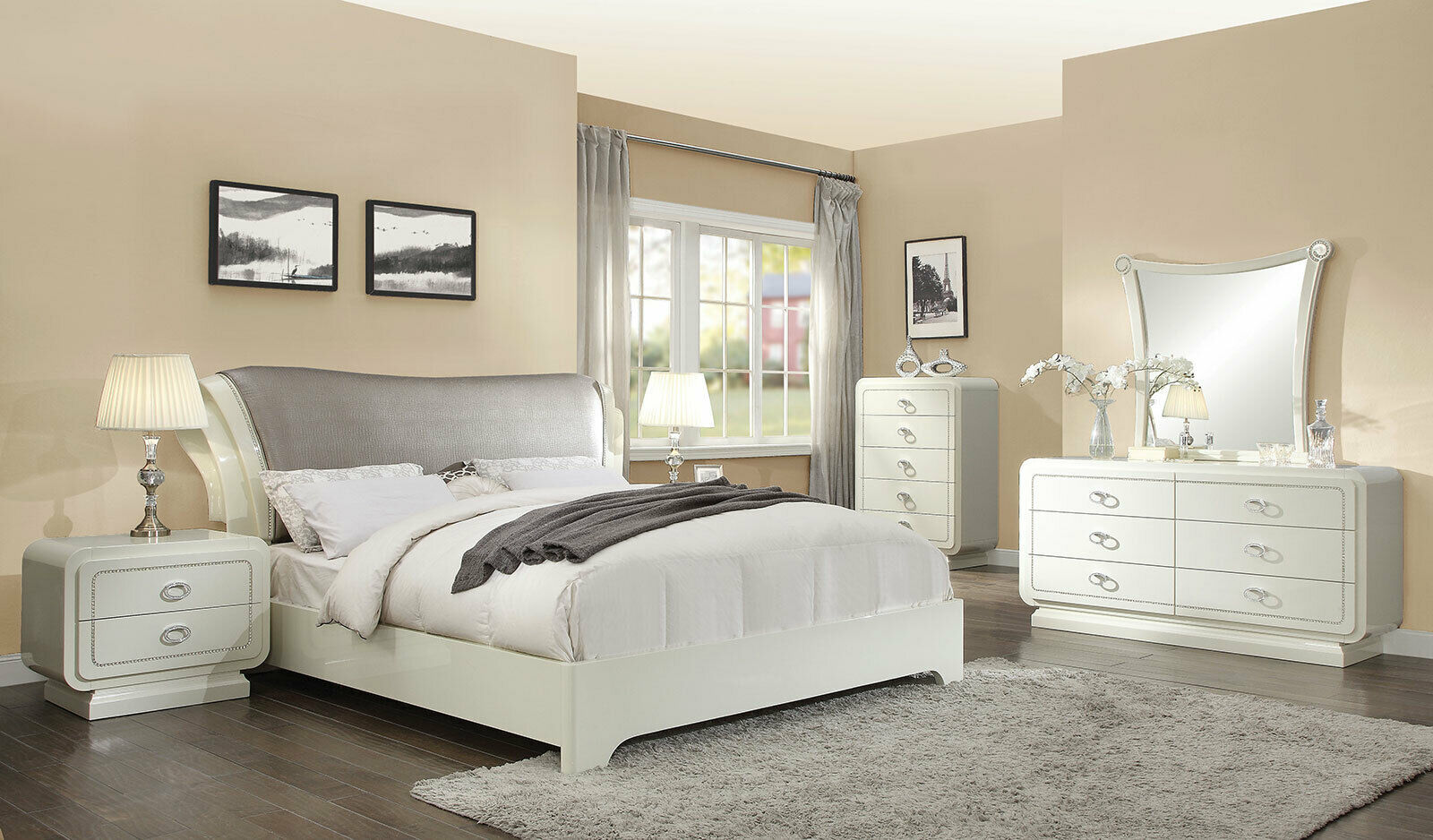 Modern Off White Amp Gray Faux Leather Bedroom Furniture