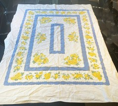 "Vintage Tablecloth Blue & Yellow Peach Cherry Strawberry Fruit 55 3/4"" x... - $19.88"