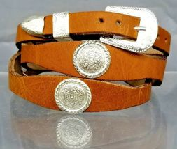 Saddle Tan HATBAND Scalloped LEATHER w Silver CONCHOS and Buckle Cowboy ... - $20.26