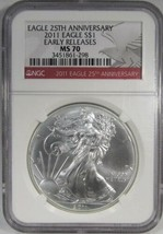 2011 Early Releases American Silver Eagle NGC MS70 25th Anniversary AJ238 - $67.63