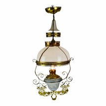 Antique Victorian Hanging Electrified Oil Lamp with Frosted Glass Smoke ... - $1,295.00