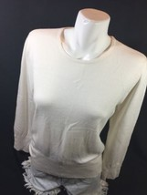 JM Collection Petite Women White Blouse Size L Scoop Neck Long Sleebe Bi... - $14.03