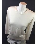 JM Collection Petite Women White Blouse Size L Scoop Neck Long Sleebe Bi... - $14.03