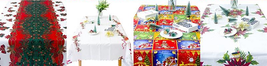 Christmas Tablecloth Cute Bowknot Santa Claus Decoratives Table Cover Di... - $16.91
