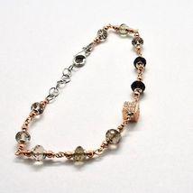 Bracelet in Sterling Silver 925 Laminate Rose Gold with Quartz ospreys and Cu... image 4