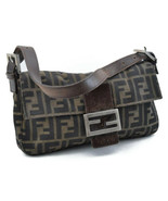 FENDI Zucca Mamma Baguette Nylon Shoulder Bag Black Brown Auth sa2117 - $480.00