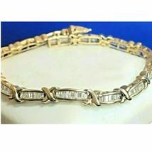 12.10 CT Baguette Cut Sim Diamond Link Tennis Bracelet in 14k Yellow Gol... - $586.41