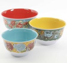New! Pioneer Woman Vintage Floral Melamine Serving Bowl Set 3pc Lids Mix... - £29.47 GBP