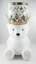 (1) Bath & Body Works White Bear Gold Crown Pedestal 3 Wick Candle Holder New - $78.19