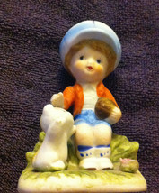 Vintage Homco Taiwan Porcelain 1430 V Boy Petting Cat Kitten Figurine - $6.33