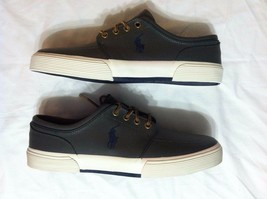 POLO RALPH LAUREN MENS NEW GRAY 100%LEATHER FASHION SNEAKERS SIZE:8.5 - $70.13