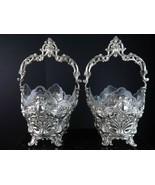 c1910 Austrian 800 Silver Reticulated Repousse Art Nouveau Baskets with ... - $1,789.68