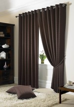 Jacquard Check Brown Lined Ring Top Eyelet Curtains Drapes *6 Sizes* - $79.57+