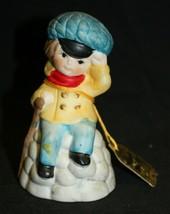 Jasco Merri Bells Collection Little Boy Bisque Porcelain Bell Taiwan 1978 - $9.89