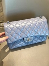 AUTH CHANEL LAVENDER PURPLE LAMBSKIN QUILTED JUMBO DOUBLE FLAP BAG SILVER HW image 3