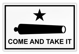 Crazy Sticker Guy Giant Size Magnet - Come and Take It Flag (Cannon) Molon Labe  - $16.99