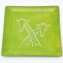 Tabaka Chigware Hand Carved Kisii Soapstone Giraffe Square Trinket Dish Kenya
