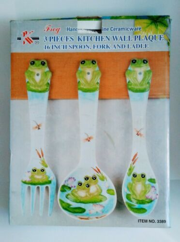"FROG Large 17"" Spoon & Fork Wall Decor Set NEW Hand Painted"