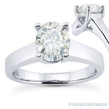 Oval Cut Moissanite 4-Prong Trellis Solitaire Engagement Ring in 14k White Gold - $356.00+