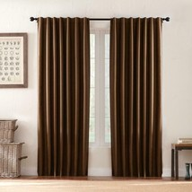 "NEW 2 Pack Textured Thermal Room Darkening Window Panels in Brown 42"" x 84"" - $28.50"