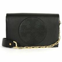 NWT Tory Burch Kipp Perforated Logo Leather Crossbody Bag BLACK $428 AUT... - $285.00