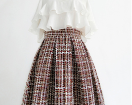 A-line Winter Tweed Skirt Outfit High Waisted Plus Size Burgundy image 3