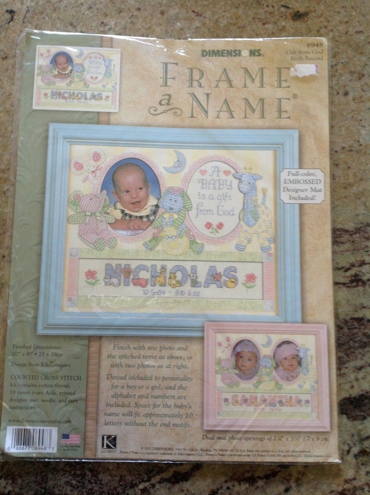 Primary image for Dimensions Counted Cross Stitch Kit Gift From God Frame a Name Birth Record