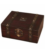 Wooden Jewelery Storage Box Case Organiser Vintage Lock Treasure Chest R... - $11.99