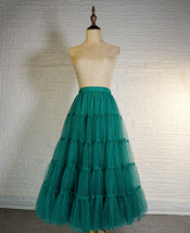 Women Emerald Green Sparkle Skirt Tiered Long Tulle Skirt Evening Maxi Skirt image 3