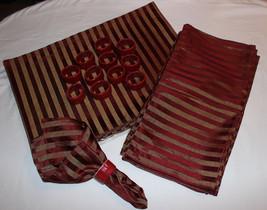 Service for 12 Burgundy & Gold Stripe Placemats Linen Napkins & Ring Hol... - $45.04