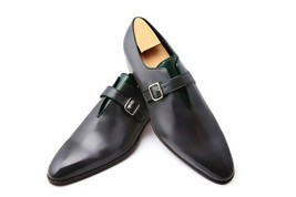 Handmade Men's Black Leather Monk Strap Shoes image 1