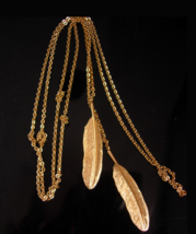 Hippie Feather Lariat Necklace - double pendant - boho jewelry - gold co... - $65.00