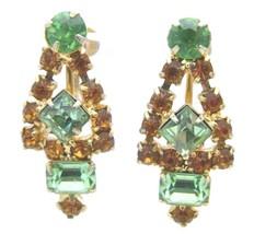 VTG Gold Tone Green Orange Rhinestone Art Deco Style Screw Back Earrings - $29.70