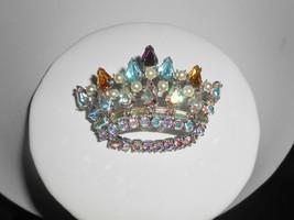 Rhinestone Crown Brooch Pin Aurora Borealis Pearls Vintage Jewelry - $23.75