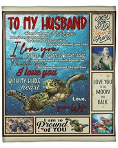 Personalized Sea Turtle To My Husband Love You To The Moon And Back Blanket - $35.59+