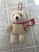 "Little Teddy Bear Plush Red Bow Christmas Ornament 4"" Tall - $14.01"