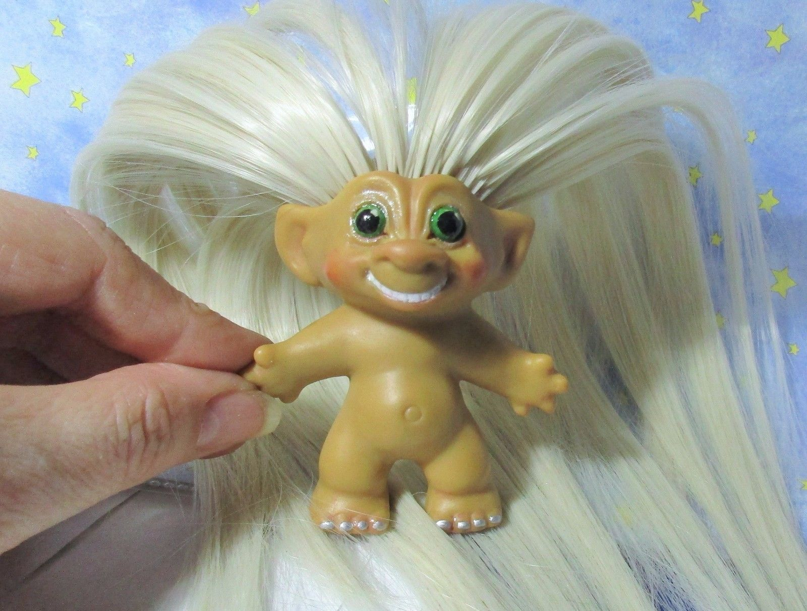 SMILING ROOTIE 3-IN Custom Troll Doll rooted vintage 60s Martian Moon Wand Alien image 6