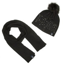U.S. Polo Assn. Women's Knit Scarf & Pom Pom Hat Set Women's Black New M... - $8.86