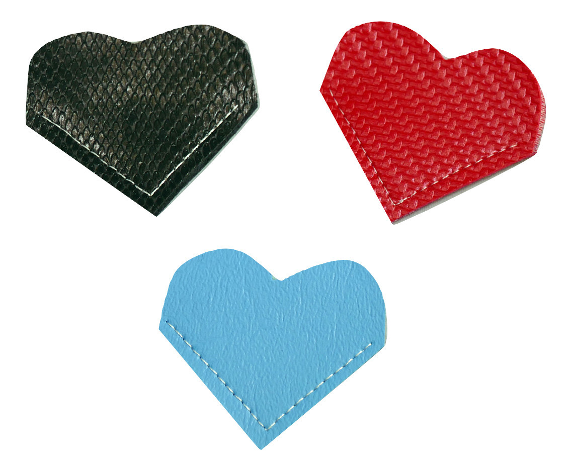 Heart Bookmark Vinyl Exotic Ebony AS Baby Blue CF Red Set of 3 Corner Bookmark