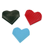 Heart Bookmark Vinyl Exotic Ebony AS Baby Blue CF Red Set of 3 Corner Bo... - $10.00