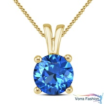 Solitaire Pendant W/ Chain In Round Cut Blue Topaz Yellow Gold Plated 92... - £34.12 GBP