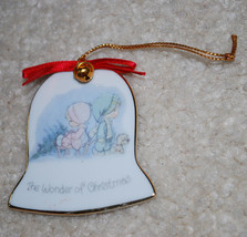 """Vintage 1986 Precious Moments The Wonder of Christmas Ornament Enesco 2.5"""" Bell - $8.86"""