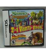 SHREK MADAGASCAR DreamWorks 2-in-1 Party Pack Nintendo DS VIDEO GAME COM... - $14.85