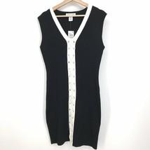 1X NWT Planet Gold Women's Black White Tie Front Sleeveless Bodycon Dres... - $20.05