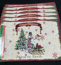 6 Winter Holiday SNOWMAN Christmas Tapestry Woven Jacquard Placemats 19... - $35.99
