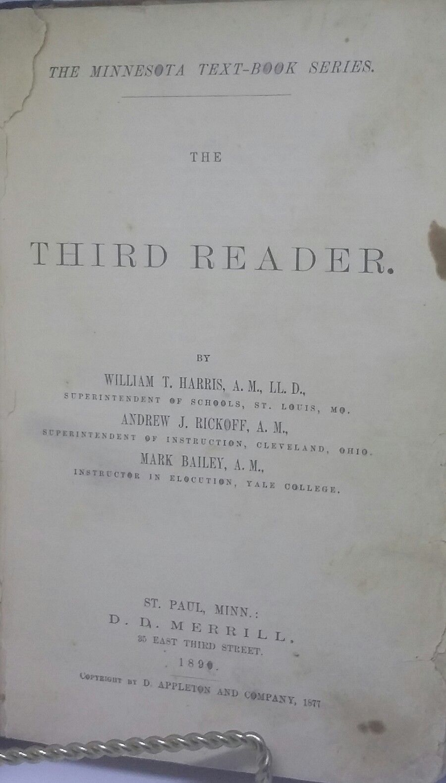 RARE 1890 Appleton's Third Reader School Book Illustrated Merrill St Paul MN