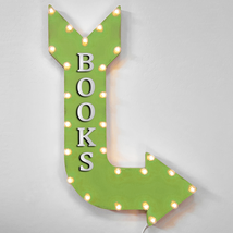 """36"""" BOOKS Curved Arrow Sign Light Up Metal Marquee Vintage Book Read Store - $155.93+"""